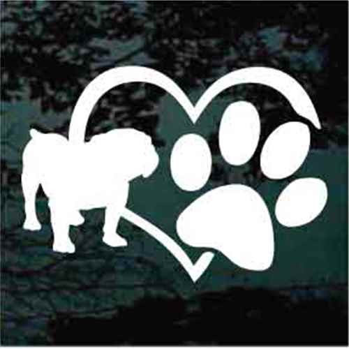 British Bulldog Heart Paw Window Decal