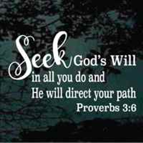 Seek God's Will In All You Do Christian Quote Decals