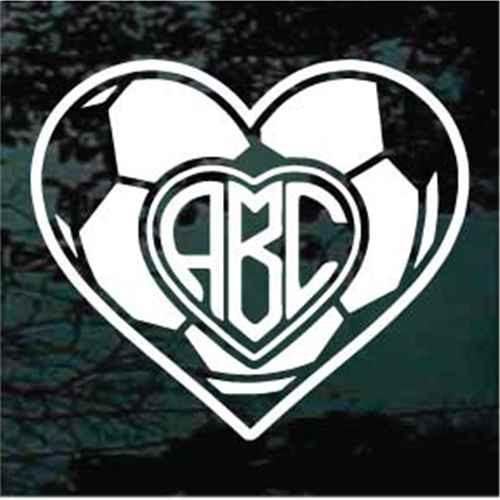Soccer Ball Heart Monogram Decals