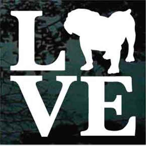 British Bulldog Love Window Decal
