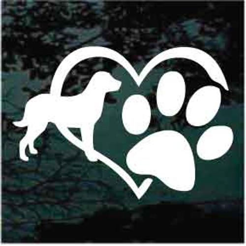 Chesapeake Bay Retriever Heart Paw Window Decal
