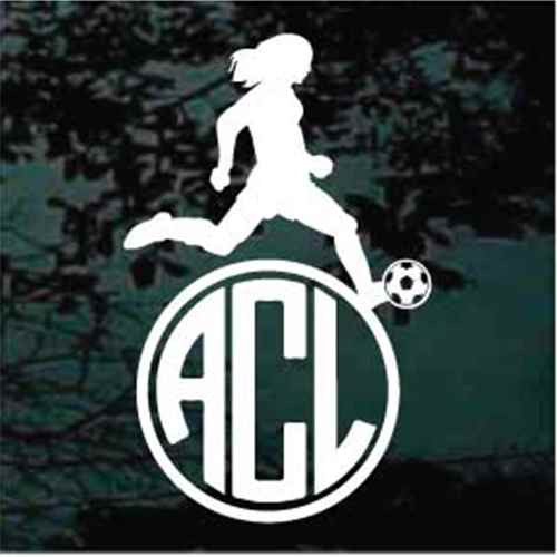 Girl Soccer Player Monogram Decals