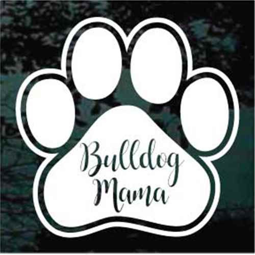 Bulldog Mama Paw Print Window Decal