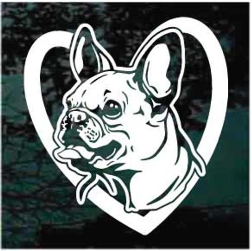 French Bulldog Head Inside Heart Window Decals