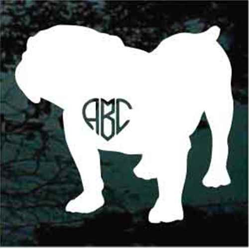 British Bulldog Heart Monogram Window Decal