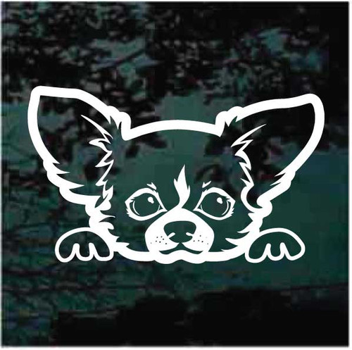 Long haired Chihuahua Peeking Doggie In The Window Decals