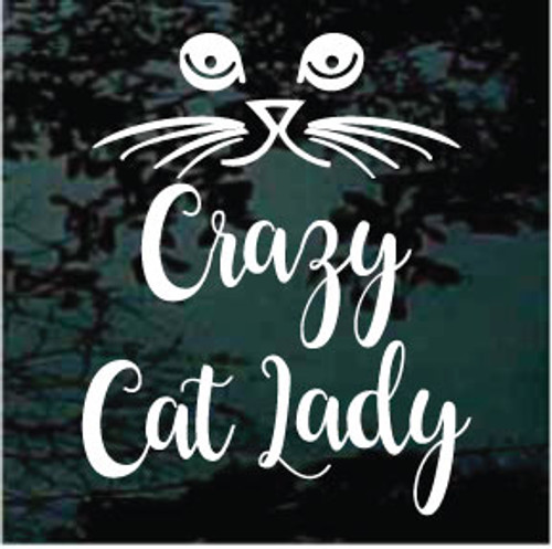 Cat Face Crazy Cat Lady Window Decal