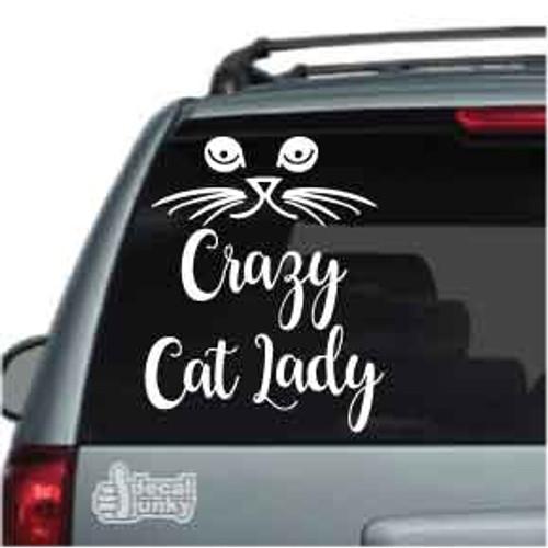 Cat Face Crazy Cat Lady Car Decals