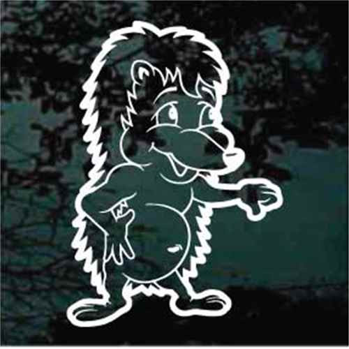 Muscle Hedgehog Cartoon Window Decals
