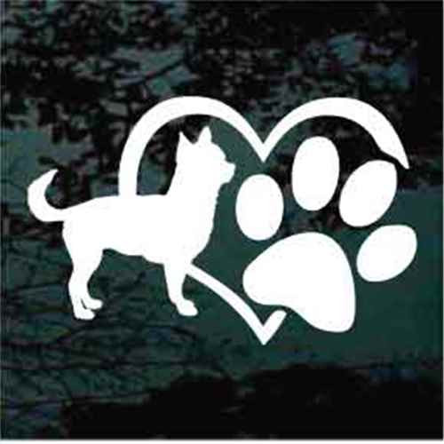 Chihuahua Heart Paw Window Decal