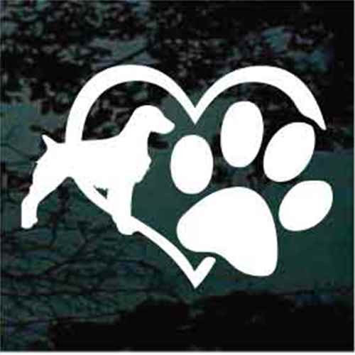 Brittany Spaniel Heart Paw Window Decal