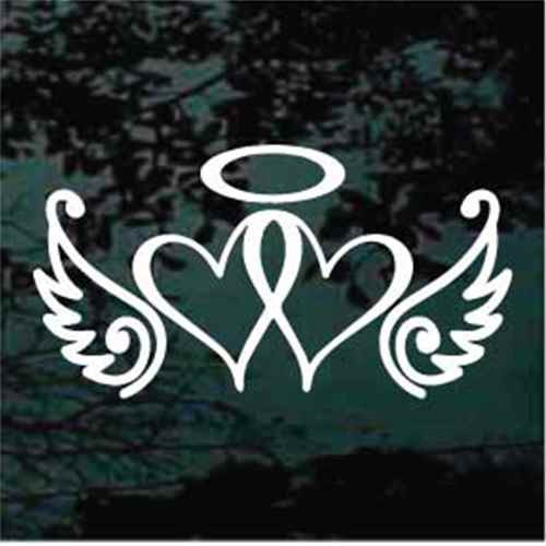 Awareness Ribbon Hearts With Wings & Halo Window Decals