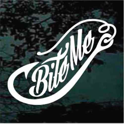 Script Bite Me Fish Hook Decals Decal Junky Stick Em Up