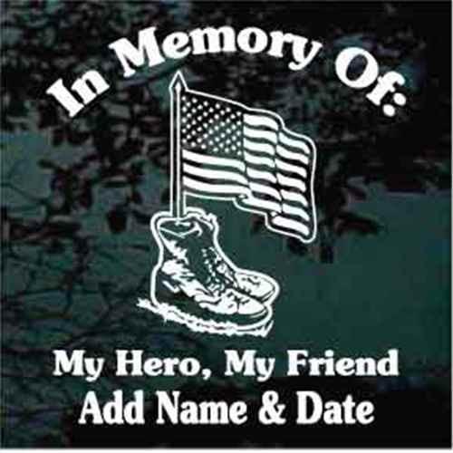American Flag In Combat Boots Memorial Window Decal