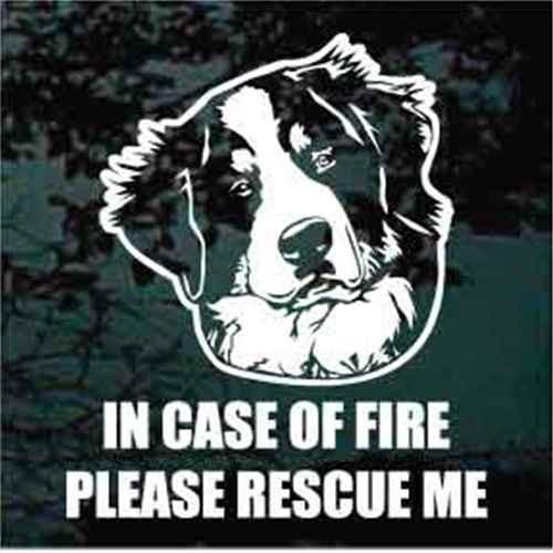 Bernese Mountain Dog Fire Rescue Window Decal