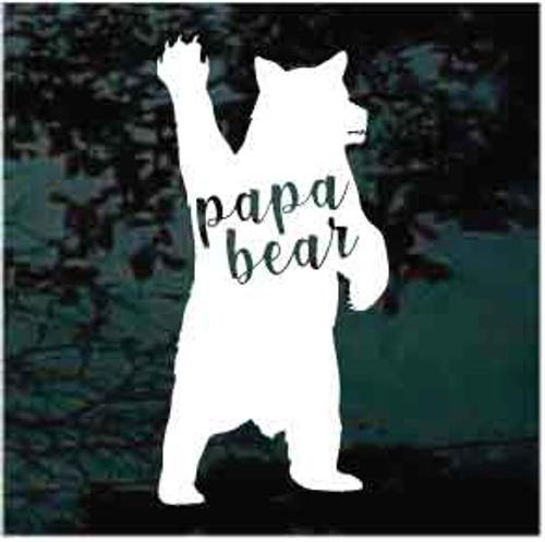 Papa Bear Waving Window Decals