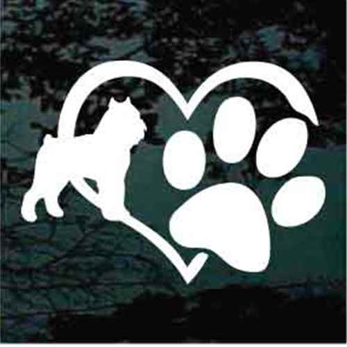 Brussels Griffon Heart Paw Window Decal
