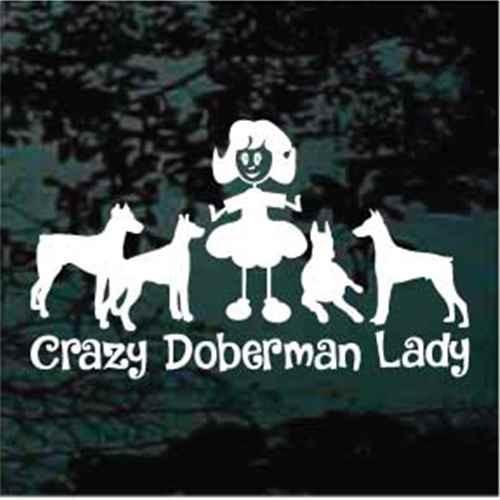 Crazy Doberman Lady Car Window Decals