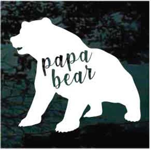 Papa Bear Sitting Window Decals