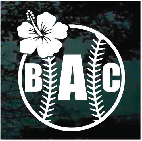 Hibiscus Flower Baseball Monogram Window Decals