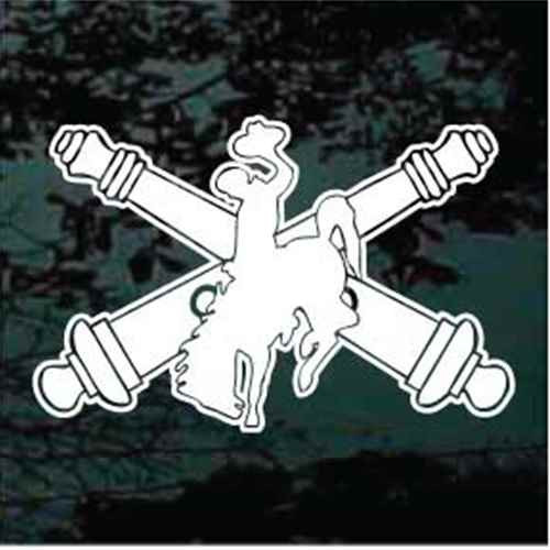 Bucking Bronco Cannons Crossed Window Decals