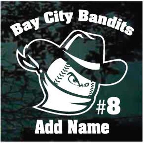Bay City Bandits Baseball Window Decals