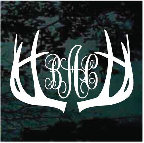Deer Antlers Script Monogram Window Decals