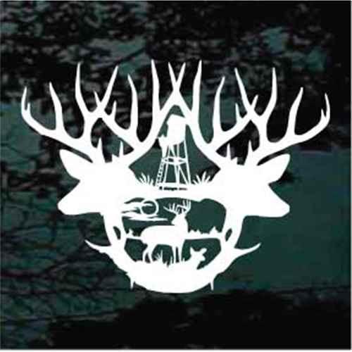 Buck Deer Hunting Scene Decals