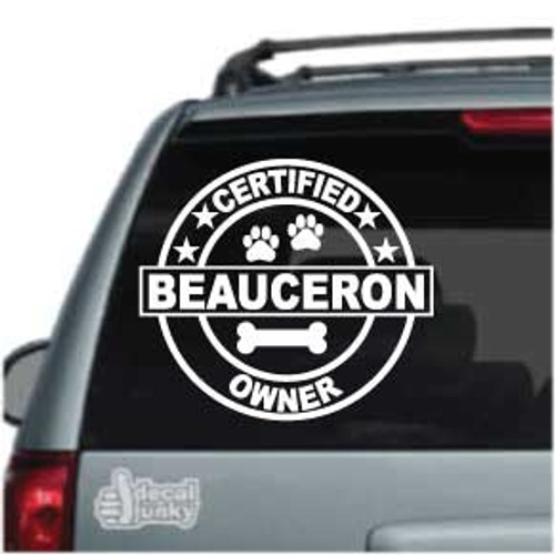 Certified Beauceron Owner Car Window Decal
