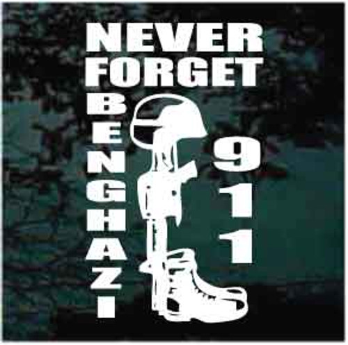 Never Forget Benghazi 911 Soldier M16 Window Decals