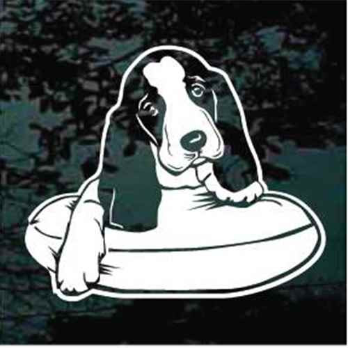 Basset Hound On Bed Window Decals