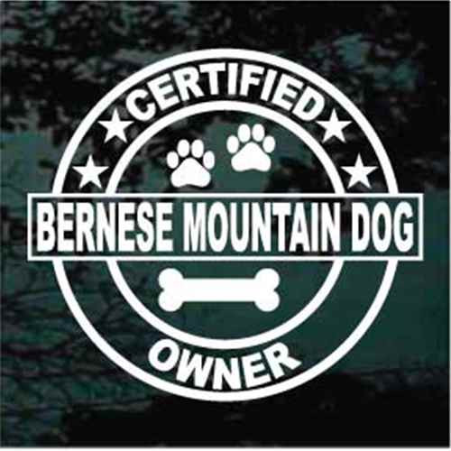 Certified Bernese Mountain Owner Window Decal