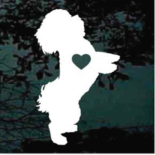 Shih Tzu Begging With Heart Window Decals