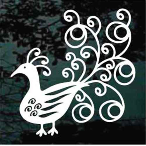 Fancy Peacock Window Decals