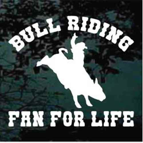Bull Riding Fan For Life Window Decals