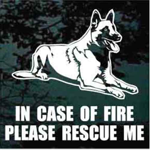Fire Rescue Belgian Malinois Down Window Decal