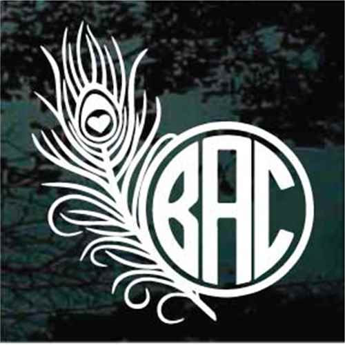 Peacock Feather Monogram Decals