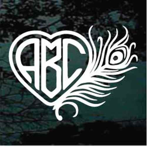 Peacock Feather Heart Monogram Decals