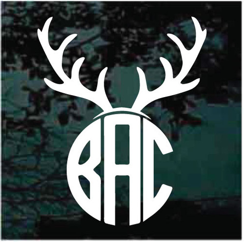 Deer Antlers Circle Monogram Window Decals