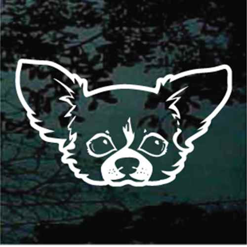 Long Haired Chihuahua Head Window Decals