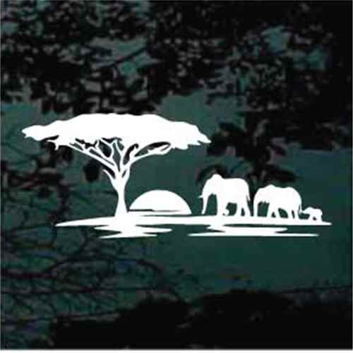 African Elephants Safari Window Decals