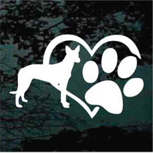 Pharaoh Hound Heart Paw Window Decal