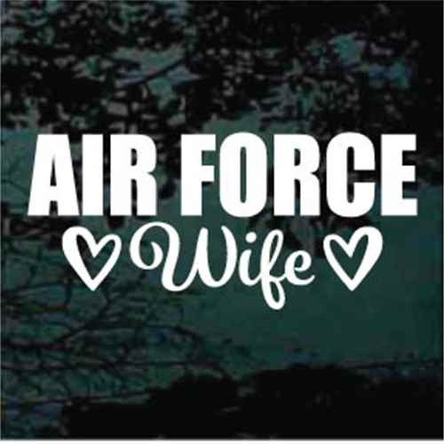 Air Force Wife With Hearts Window Decals