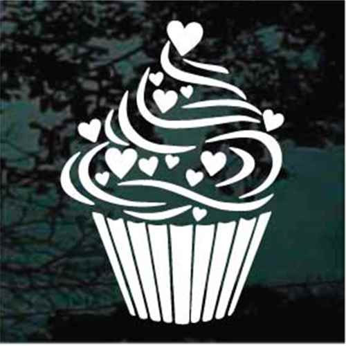 Hearts Cupcake Decals