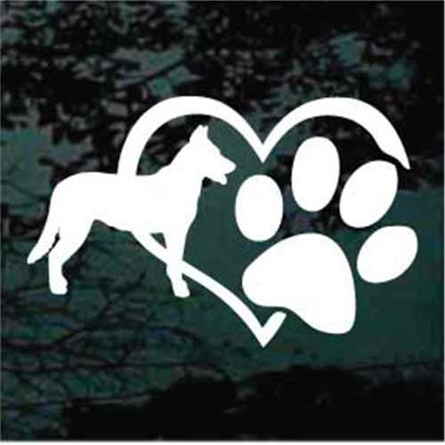 Beauceron Heart Paw Window Decals
