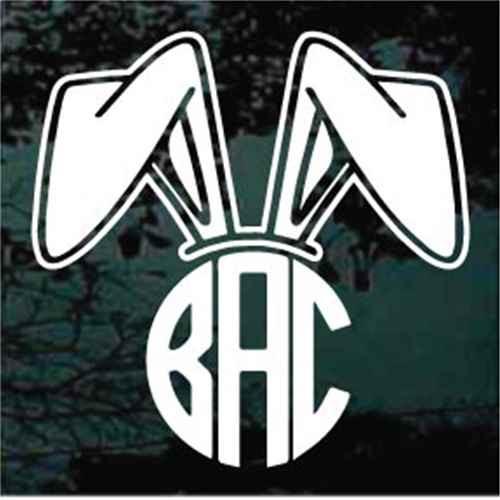 Bunny Rabbit Ears Monogram Decals