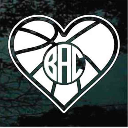 Basketball Heart Monogram Decals
