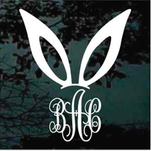 Bunny Ears Monogram Decals
