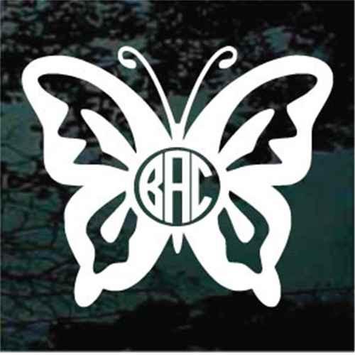 Butterfly Monogram Window Decals