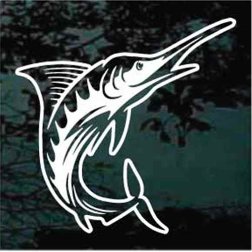 Detailed Marlin Fish Jumping Window Decals